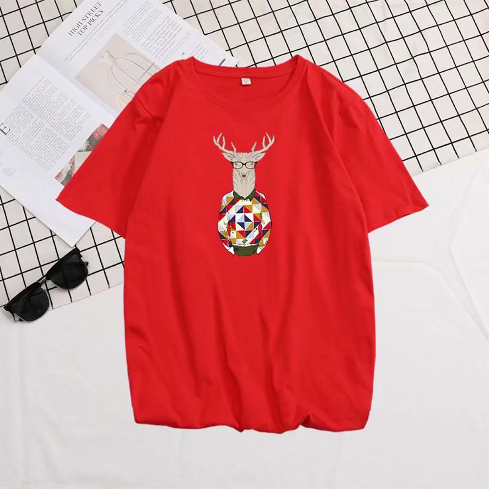 Men Summer Fashion Short-sleeved T-shirt Round Neckline Loose Printed Cotton Bottoming Top 632 red_4XL