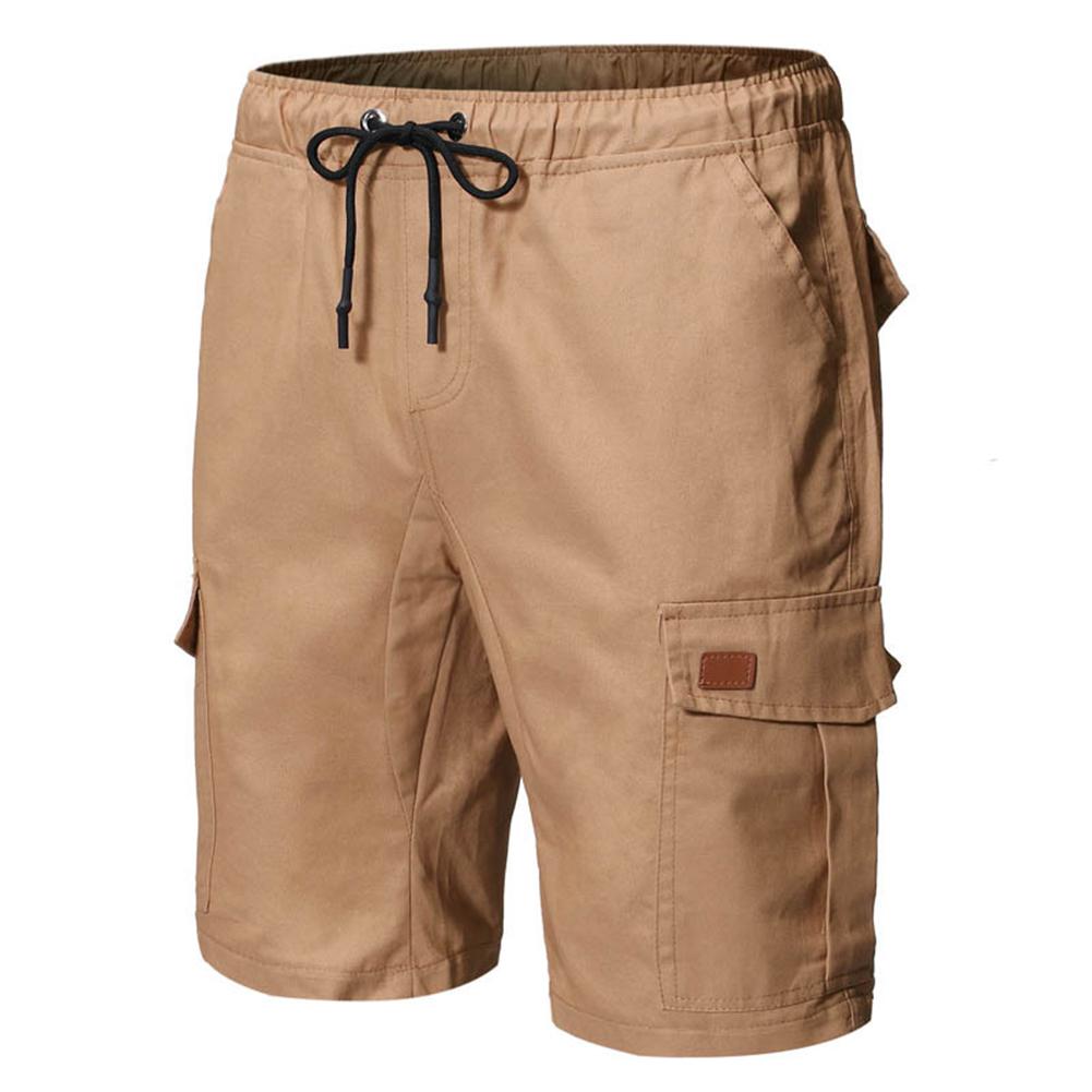 Large Size Men Fashion Pure Color Patchwork Leather Belt Casual Shorts Khaki_L