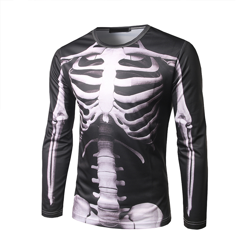 Men 3D Perspective Skeleton Printing Long Sleeve Round Collar T-Shirt Photo Color_L
