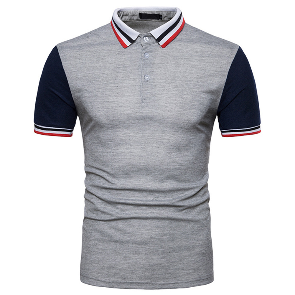 Men Summer Fashion Threaded Collar Short Sleeve POLO Shirt Tops Dark gray_L