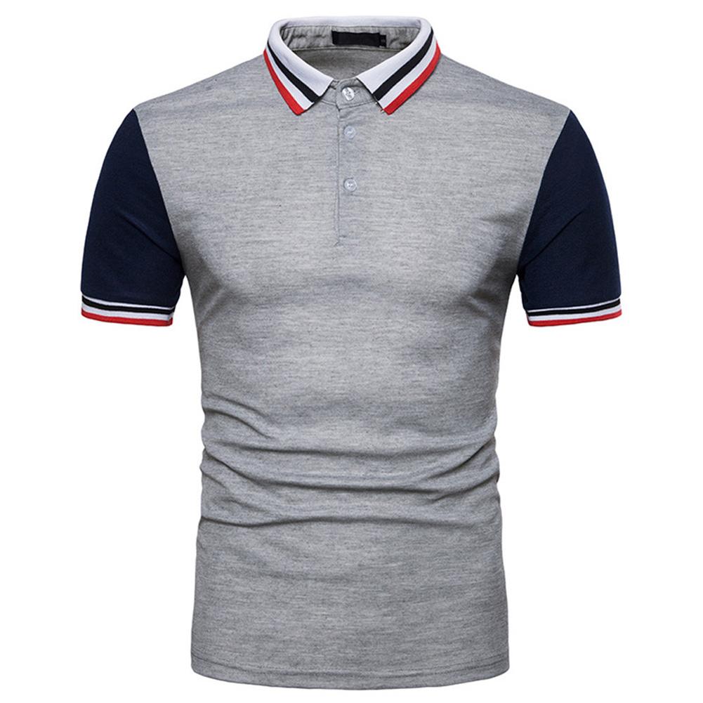 Men Summer Fashion Threaded Collar Short Sleeve POLO Shirt Tops Dark gray_M