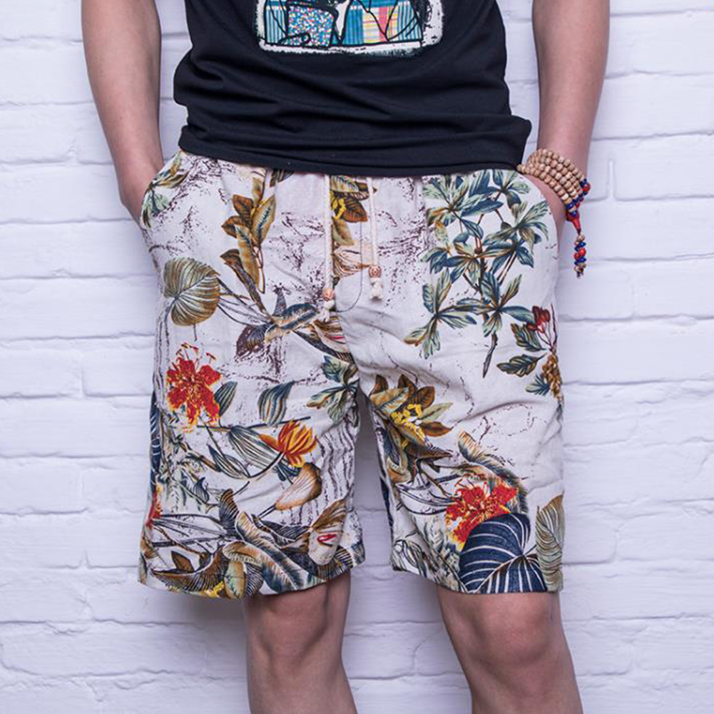 Men Summer Print Hawaii Loose Drawstring Short Pants Casual Beach Shorts    C_L