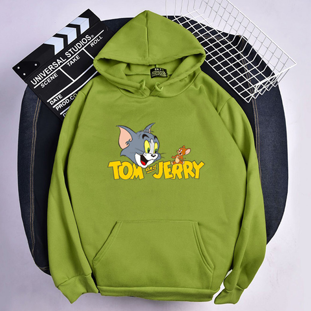 Men Women Hoodie Sweatshirt Tom and Jerry Cartoon Thicken Loose Autumn Winter Pullover Tops Green_L