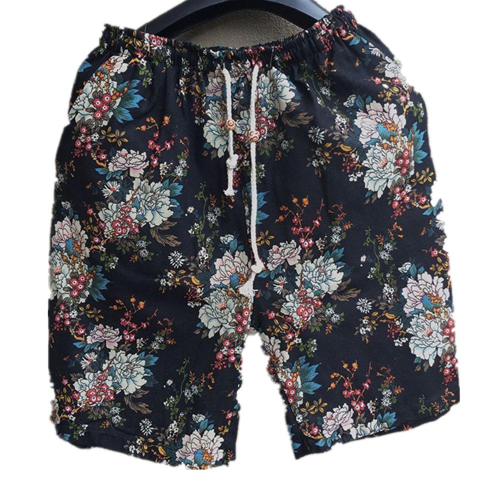 Men Summer Print Hawaii Loose Drawstring Short Pants Casual Beach Shorts    B_2XL