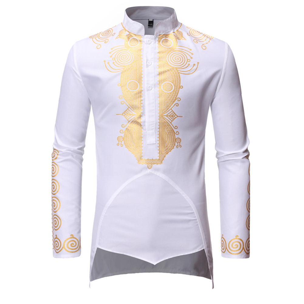 Men Long Sleeve Shirts Gilding Pattern Stand Collar Slim Shirts  white_2XL