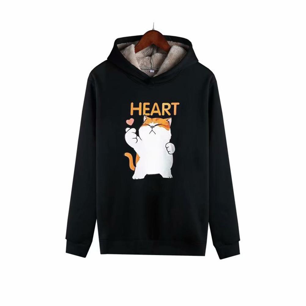 Men Autumn Winter Pullover Hooded Sweater Loose Long Sleeve Fleece Line Tops Hoodie cat-black_XXXL