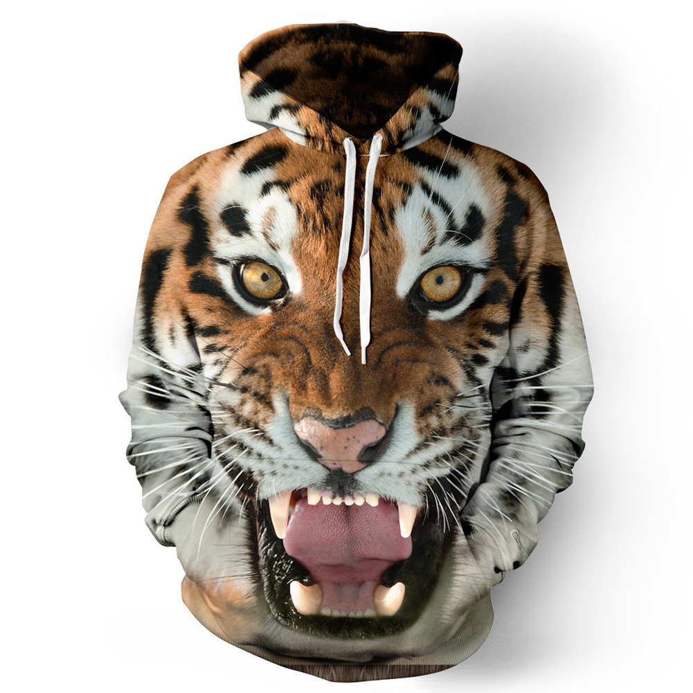 Halloween 3D Printed Tiger Hoodie Animal Cool Long Sleeve Hooded Pullover as shown_L