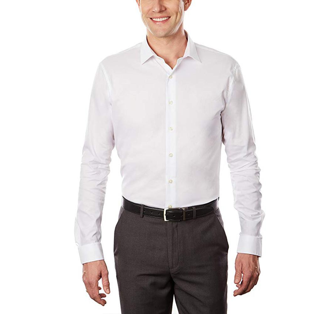 Men White Slim Antiwrinkling Business Long Sleeve Shirt  white_40