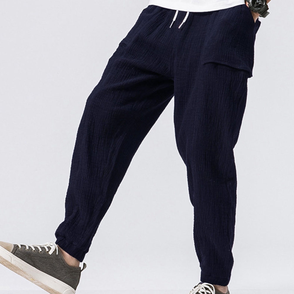 Men Leisure Pants Double Wrinkle Pants Large Size Slim Casual Trousers Navy_L