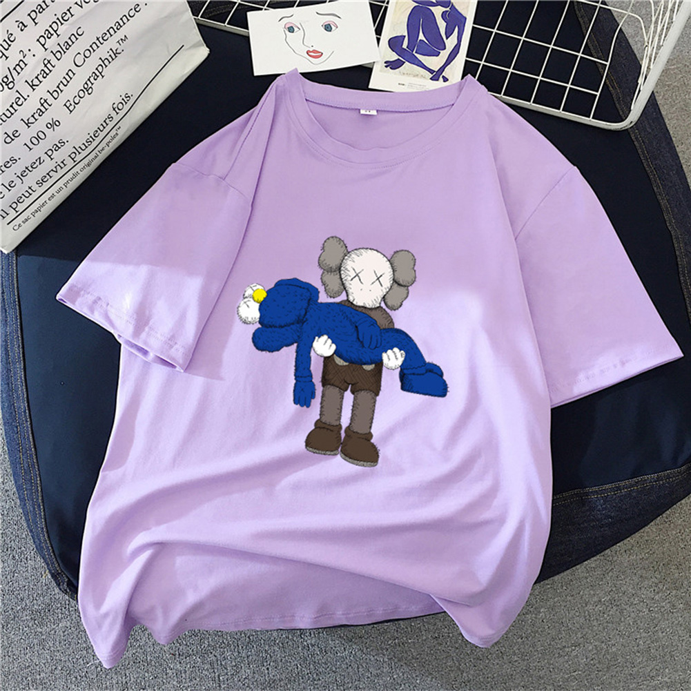 Boy Girl KAWS T-shirt Cartoon Holding Doll Crew Neck Couple Student Loose Pullover Tops Violet_XXL