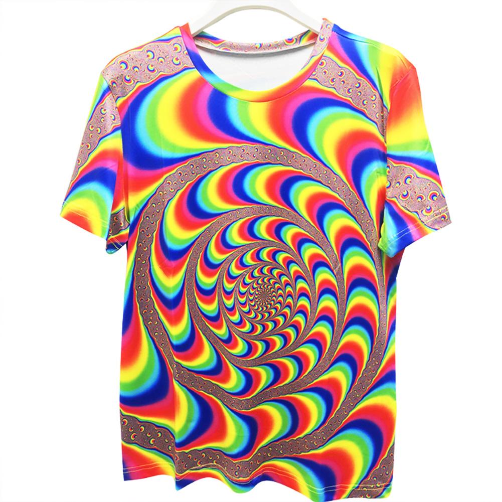 Fashion Unisex Colorful Dazzling 3D Digital Print Loose-fitting T-shirt as shown_M