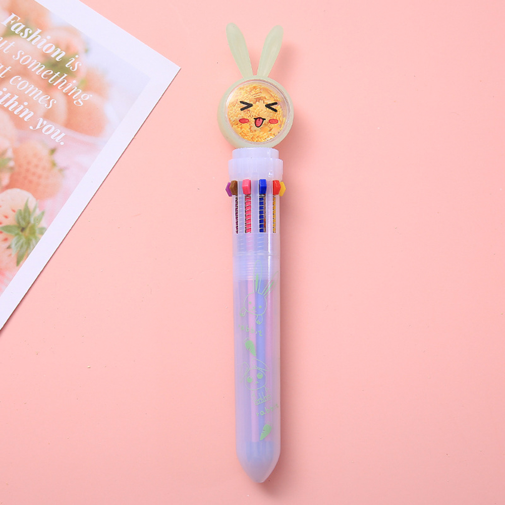 Sequin Ballpoint  Pen Stationery Cartoon Rabbit Shape Pens Signature Gel Pen Office Accessories