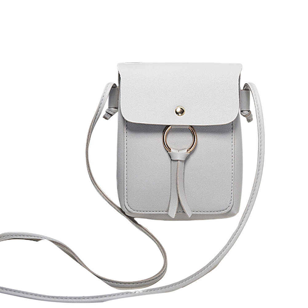Women Fashion Vertical Square Satchel Round Buckle Decoration Single Handle Bag light grey
