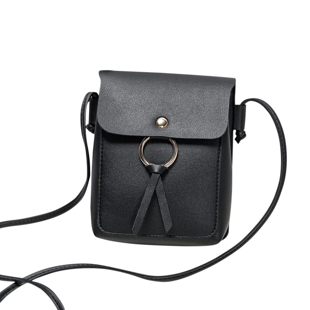 Women Fashion Vertical Square Satchel Round Buckle Decoration Single Handle Bag black