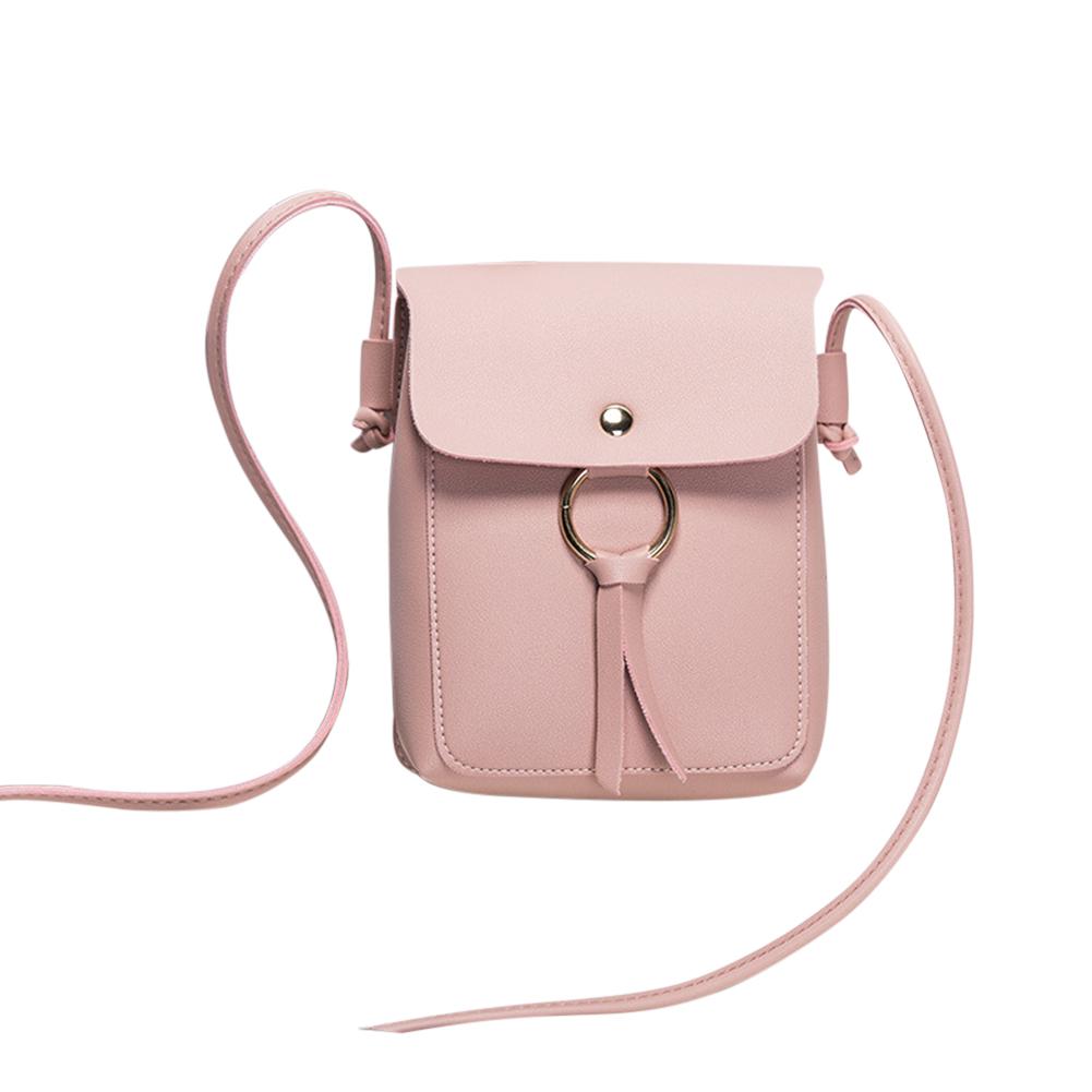 Women Fashion Vertical Square Satchel Round Buckle Decoration Single Handle Bag Pink