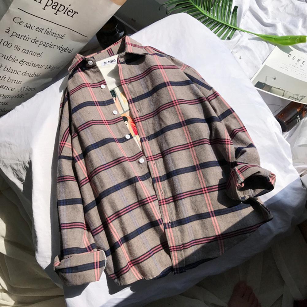 Unisex Long Sleeve Fresh Style Loose Retro Chic Shirt Khaki_XXL