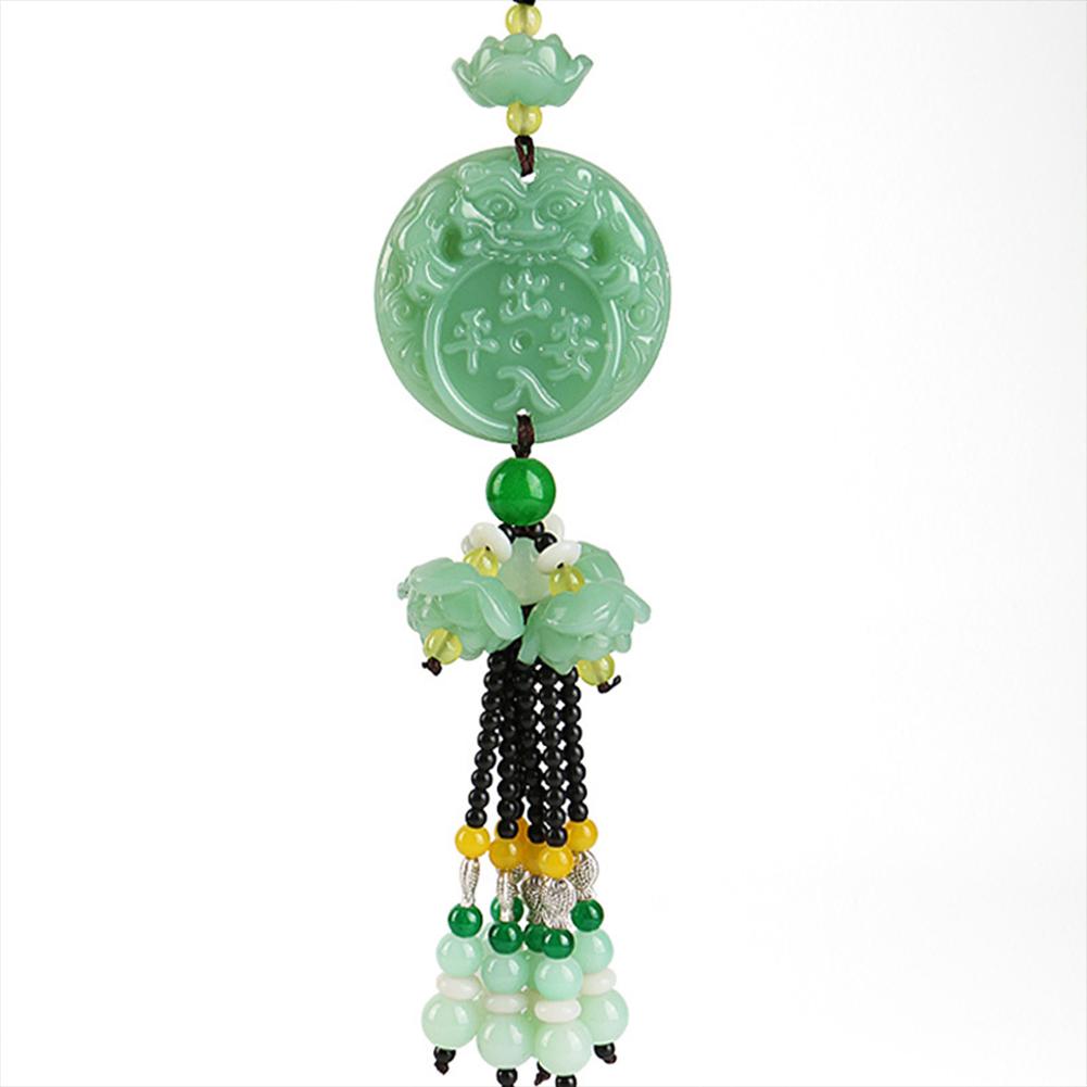Crystal Jade Green Jade Exquisite Car Interior Hanging Decoration Pendant  Entering the safe lotus