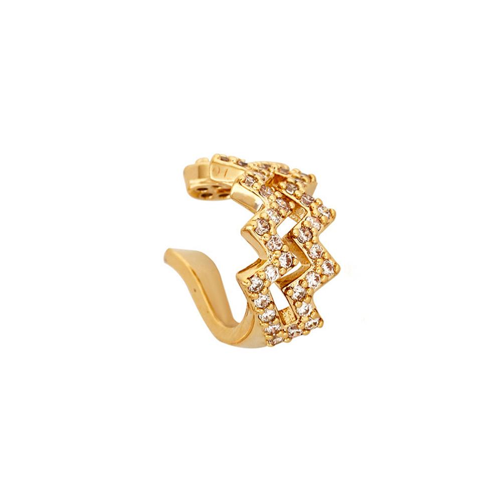 Ear  Clip Double Wavy Line Diamond No-pierced Adjustable  Earrings Metal Earrings Golden
