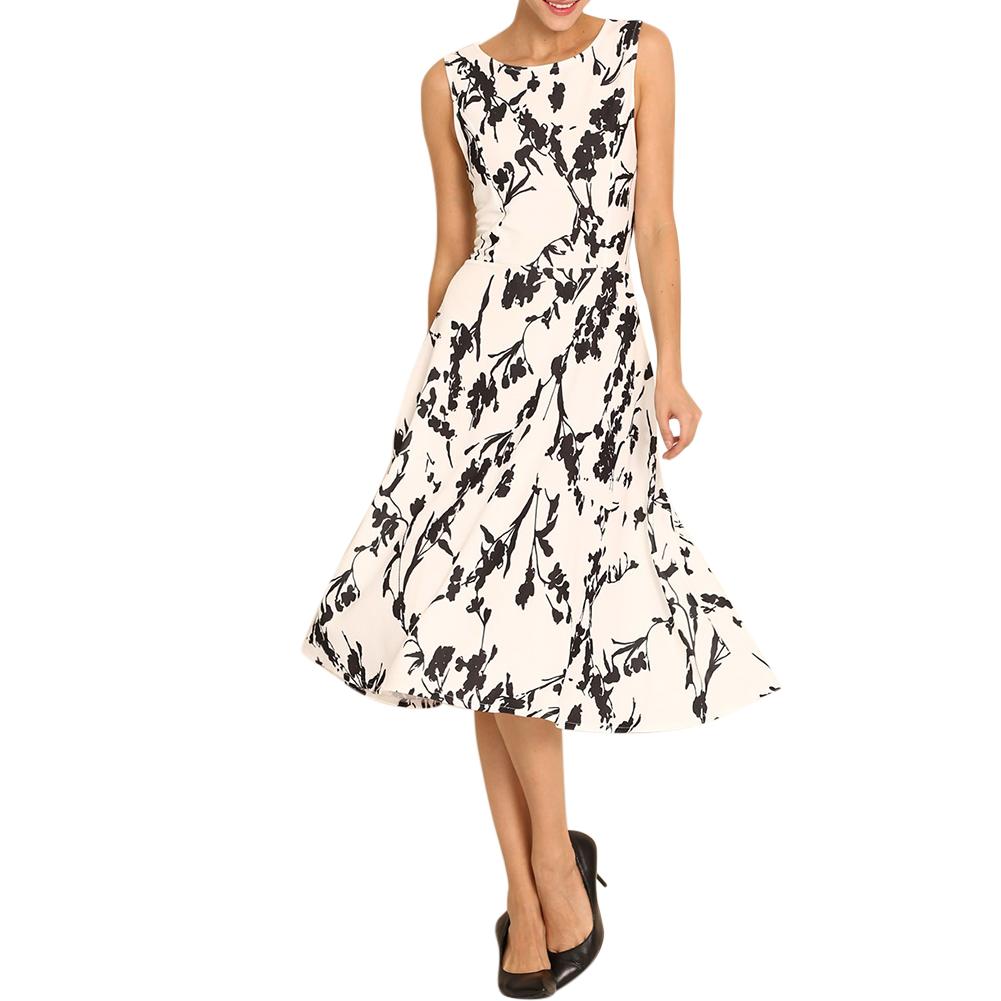 Women Floral Vintage Style Sleeveless Round Neck Flower Print Dress