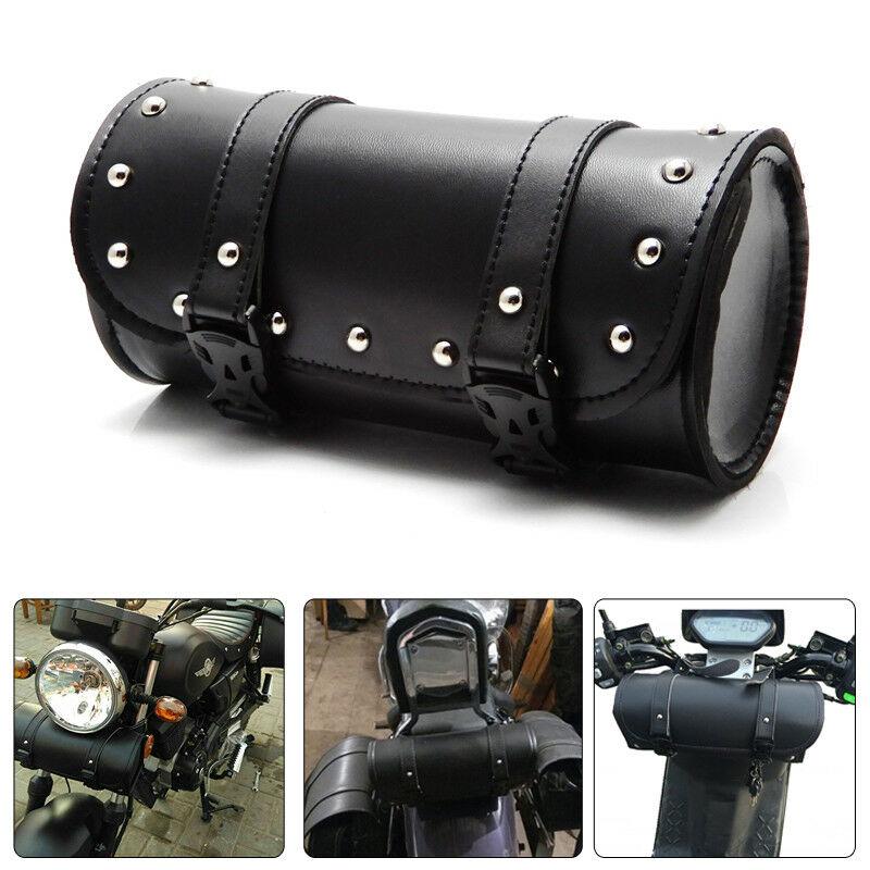 1set Motorcycle Handlebar Sissy Bar Bag Saddlebag Fork Roll Barrel Bag FOR Touring black