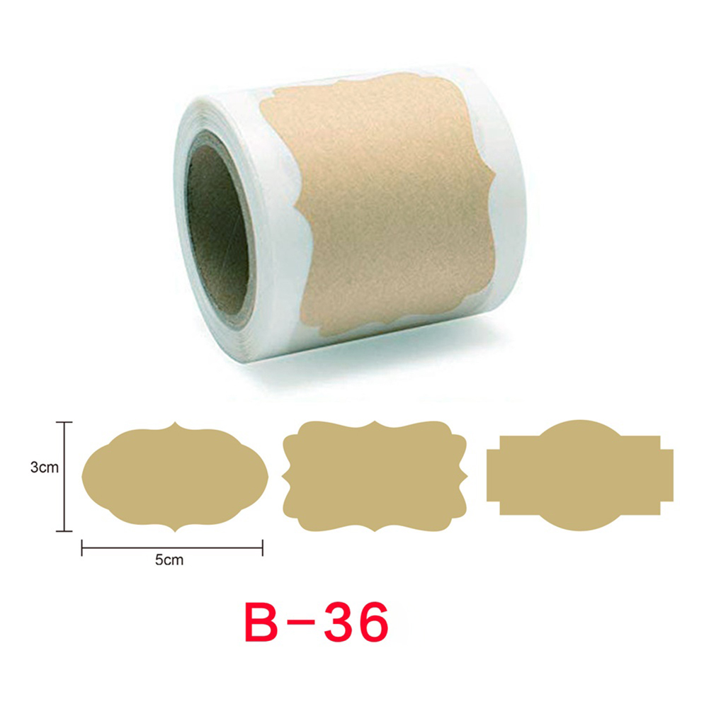 250pcs Kraft Stickers Paper Labels Blank Christmas Gift For Jar Candle Glass Bottle Office Classification Stationery b-36_3cm*5cm