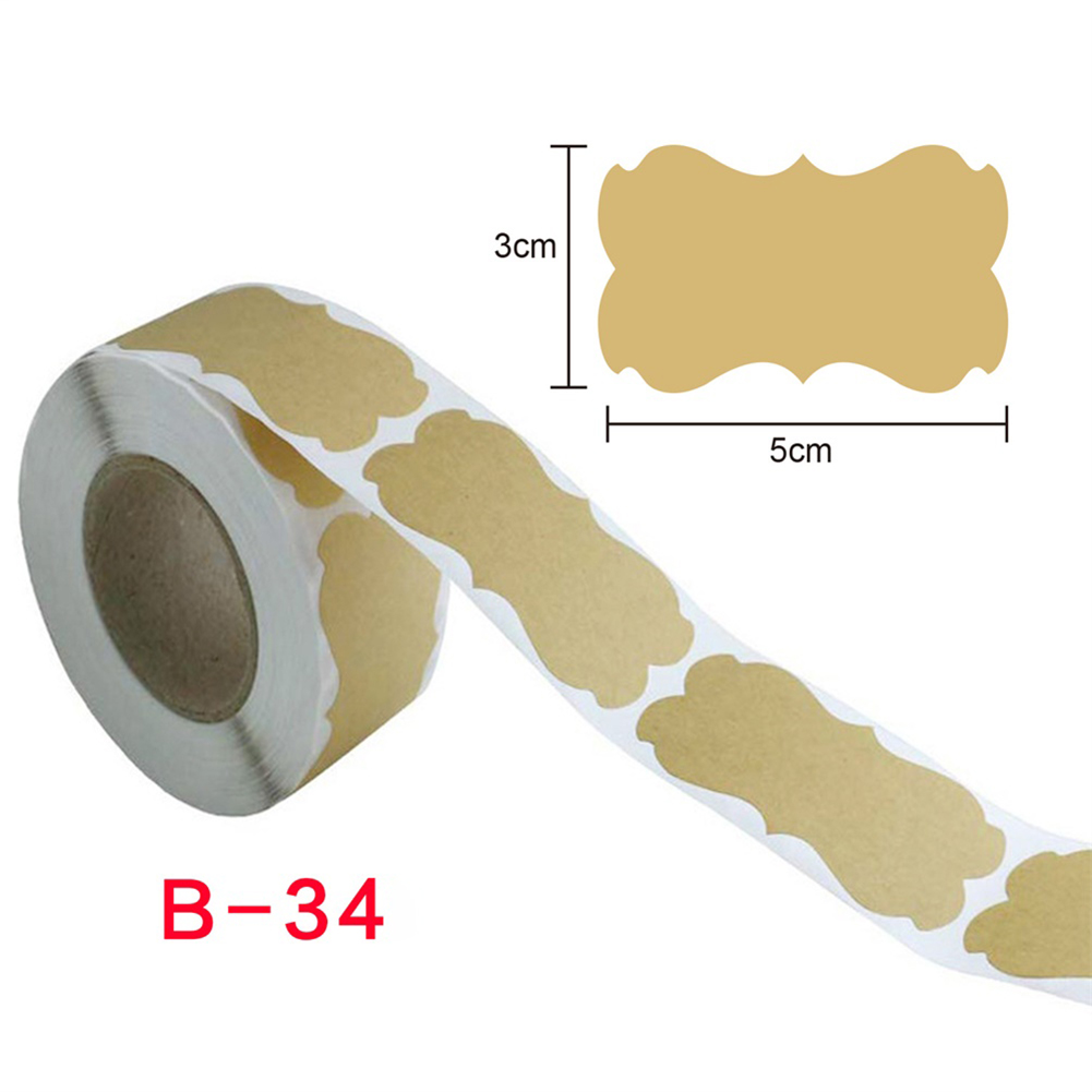 250pcs Kraft Stickers Paper Labels Blank Christmas Gift For Jar Candle Glass Bottle Office Classification Stationery b-34_3cm*5cm