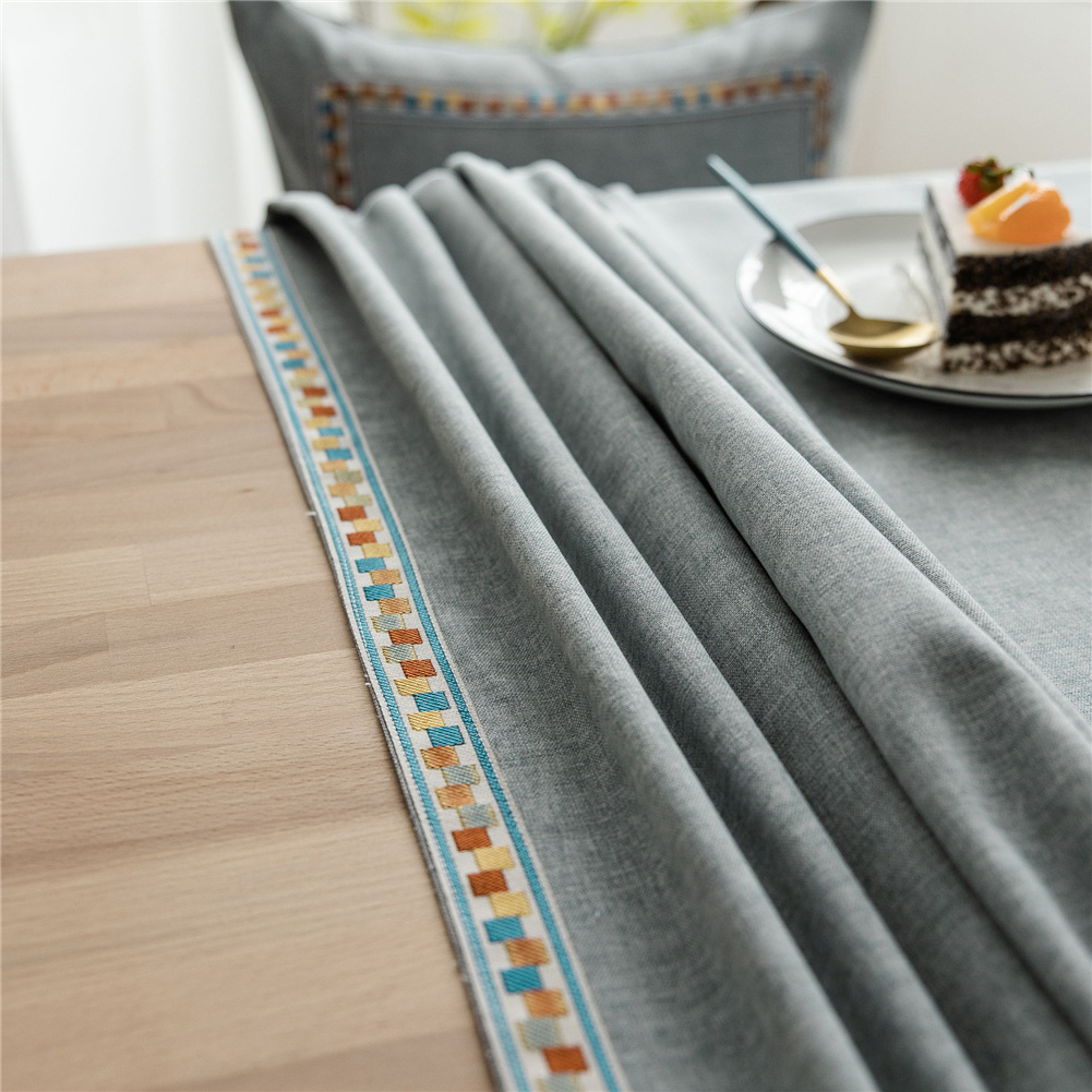 Waterproof Embroidery Table  Cloth Decorative Fabric Table Cover For Outdoor Indoor Grey_140*200cm