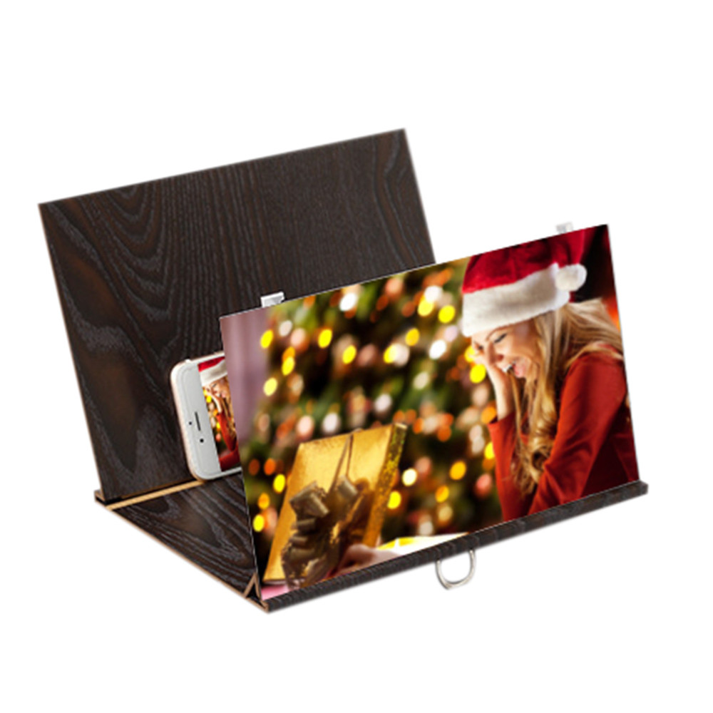 Stereoscopic Amplifying 12 Inch Desktop Wood Bracket Mobile Phone Video Screen Magnifier Amplifier Holder  coffee