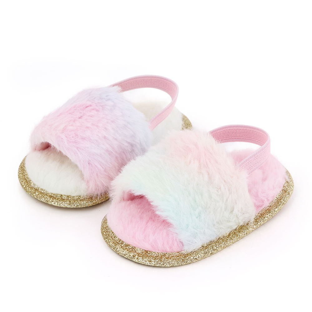 Baby Soft Shoes Soft-soled Glitter Cloth Bottom Toddler Shoes for 0-1 Year Old Baby Gradient pink_13cm