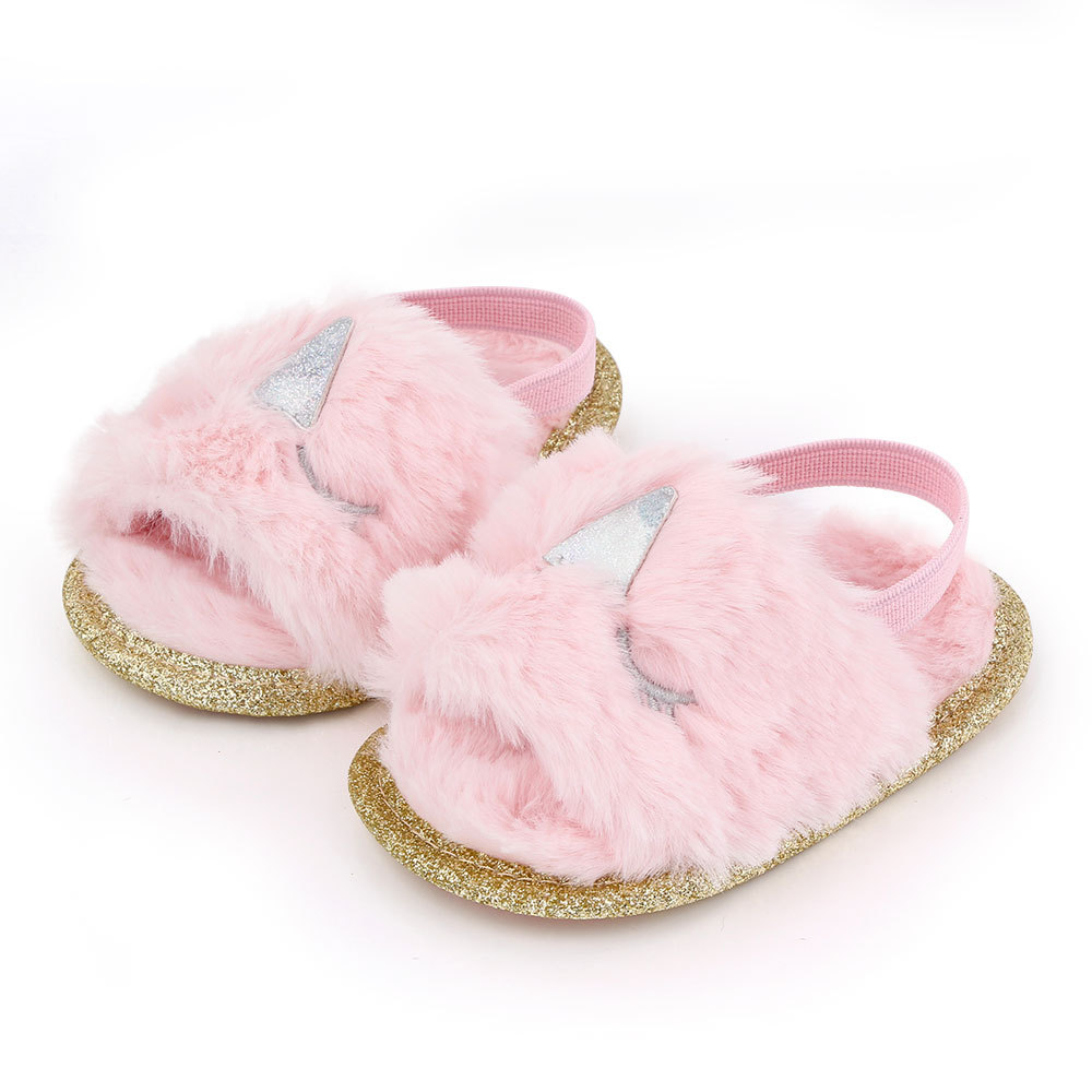 Baby Soft Shoes Soft-soled Glitter Cloth Bottom Toddler Shoes for 0-1 Year Old Baby Pink _11cm