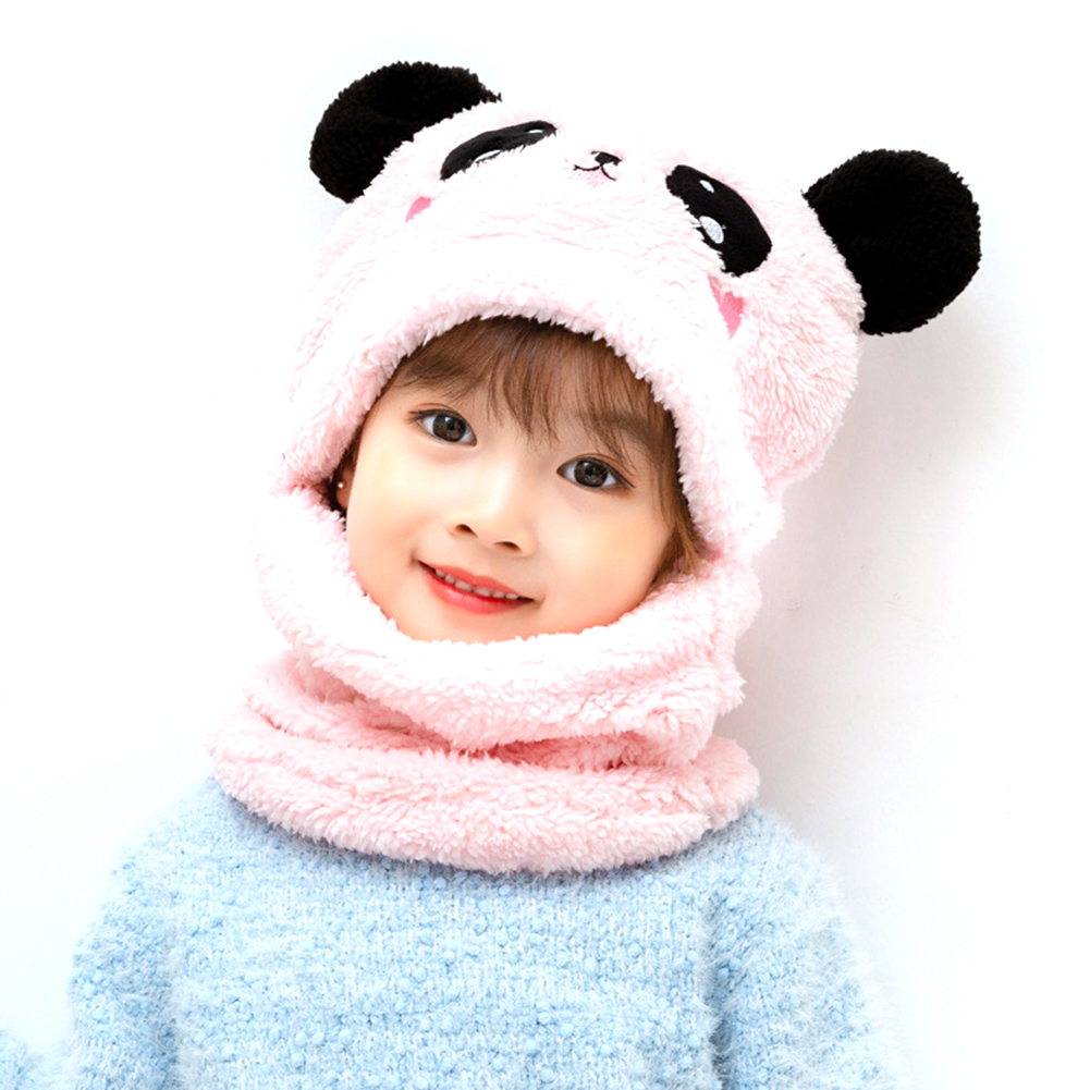 Children's  Hat Coral Fleece Cute Ear Cap With Scarf For  5-9 Years  Old Kids Pink