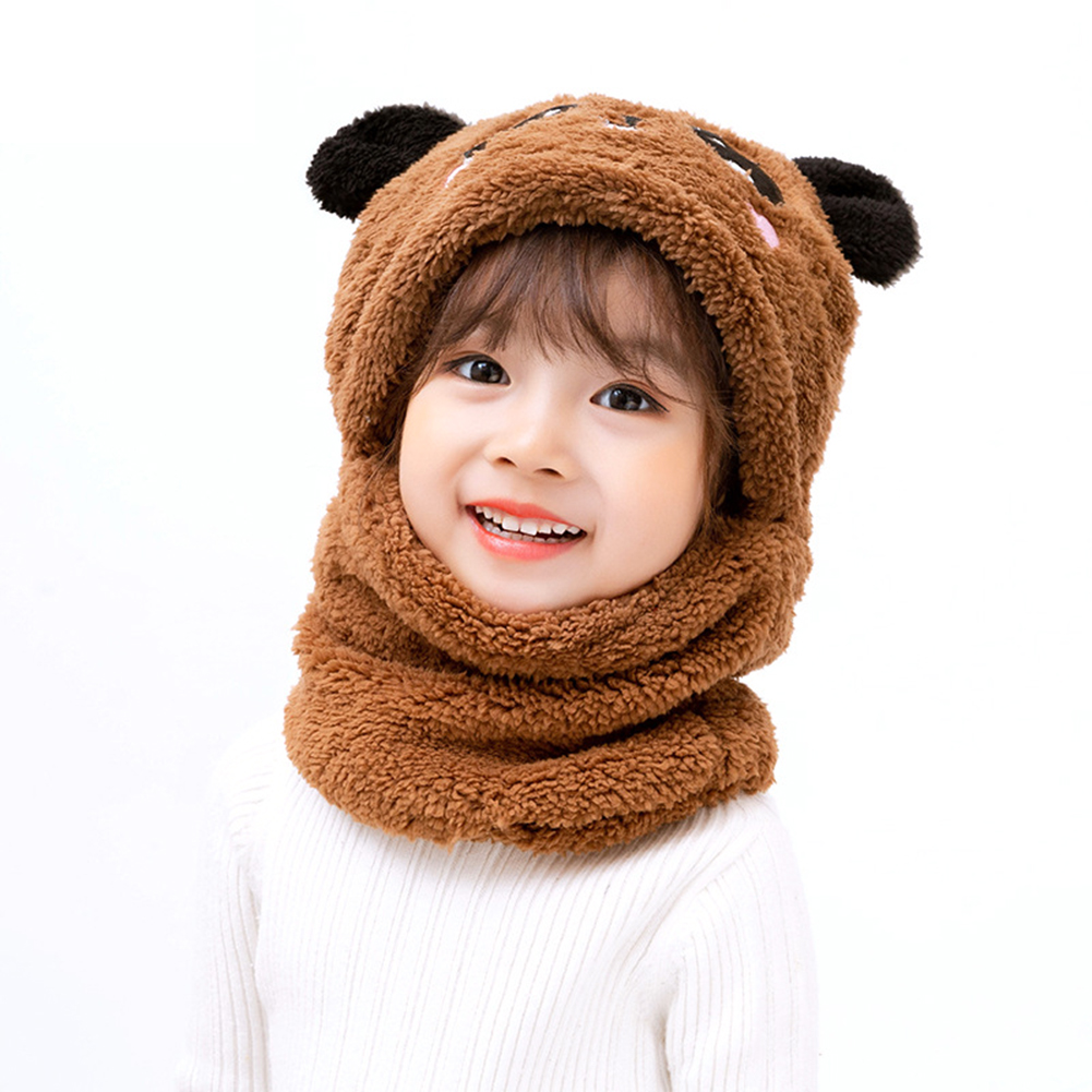 Children's  Hat Coral Fleece Cute Ear Cap With Scarf For  5-9 Years  Old Kids Brown