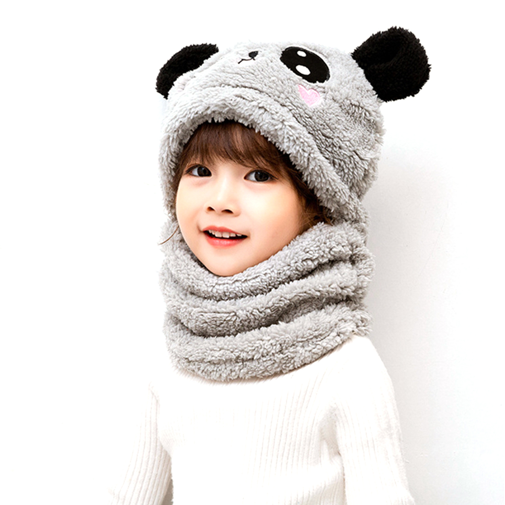 Children's  Hat Coral Fleece Cute Ear Cap With Scarf For  5-9 Years  Old Kids gray