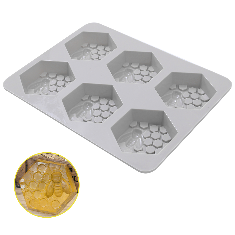 6 Holes Heat Resistant Silicone DIY Handmade Honey Bee Shaped Soap Mold  As shown