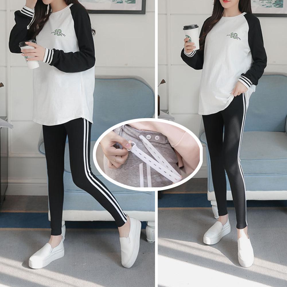 Simple Side Stripes Abdomen Support Leggings Trousers for Pregnant Woman  Black (white strip)_2XL