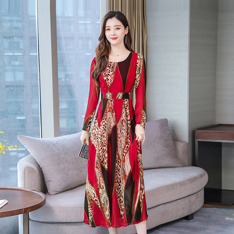 Long Sleeves Woman Dress with Belt Slim Long Female Dress Floral Printed Dress red_XL