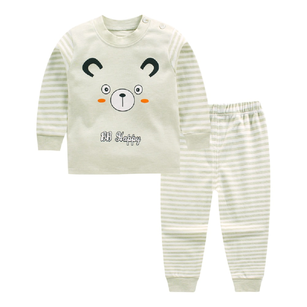 2Pcs/Set Boy Girl Baby Children Cut Cartoon Stripe Long Sleeve Round Collar Top Trousers Suit Bean green bear_73cm