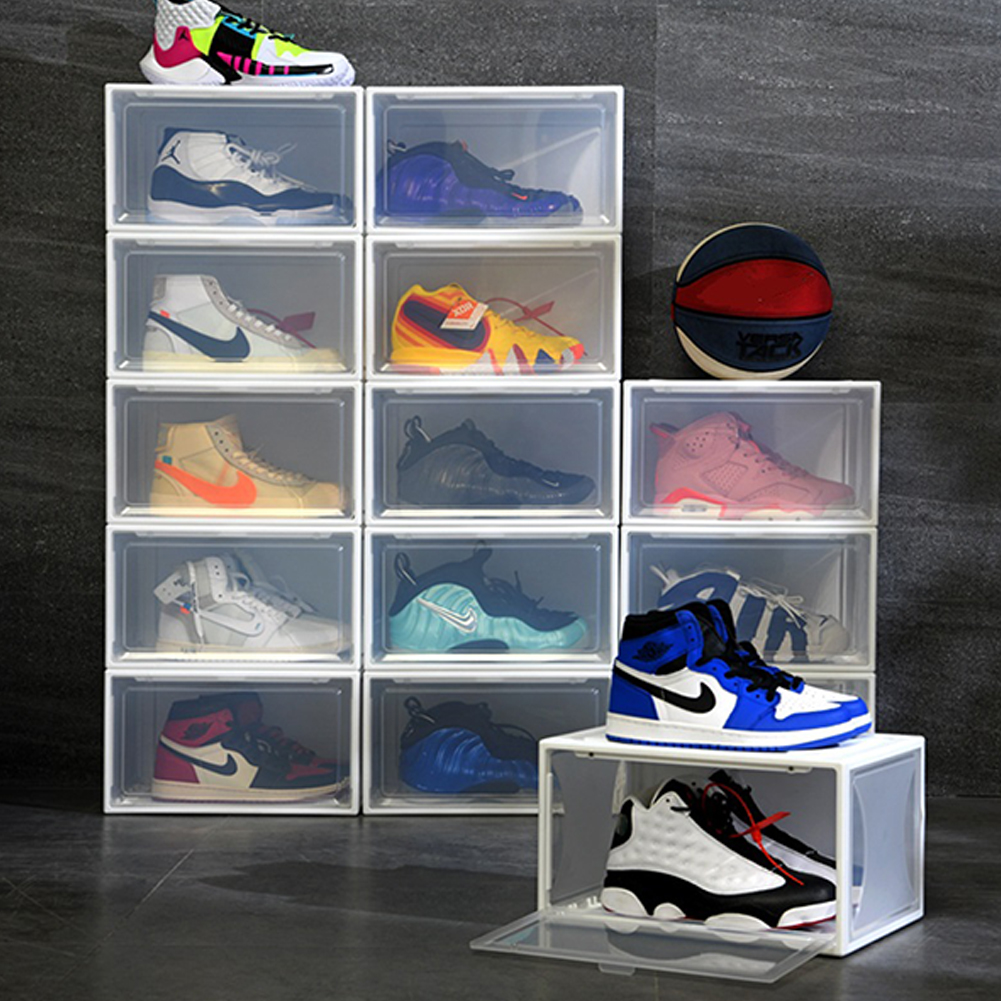 1PC Transparent Drawer Storage Display Cabinets Multi-Purpose Dust-Proof Shoes Box Small white
