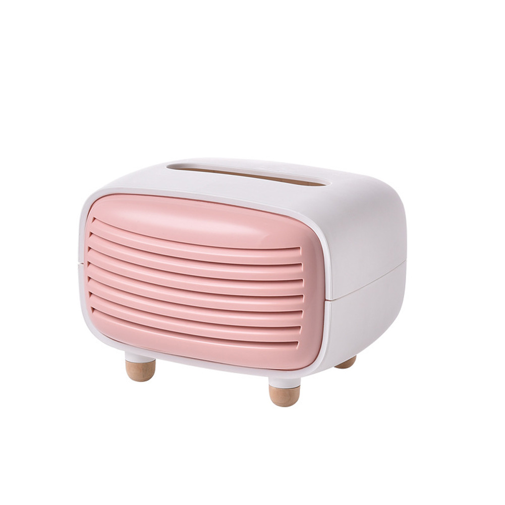 Simulate Radio Shape Tissue Box for Living Room Hotel Restaurant Home Decoration Supplies Pink_13.5 * 11 * 14cm