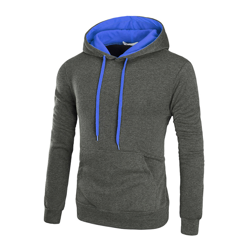 Men Autumn Winter Solid Color Hooded Sweater Hoodie Tops Dark gray_2XL