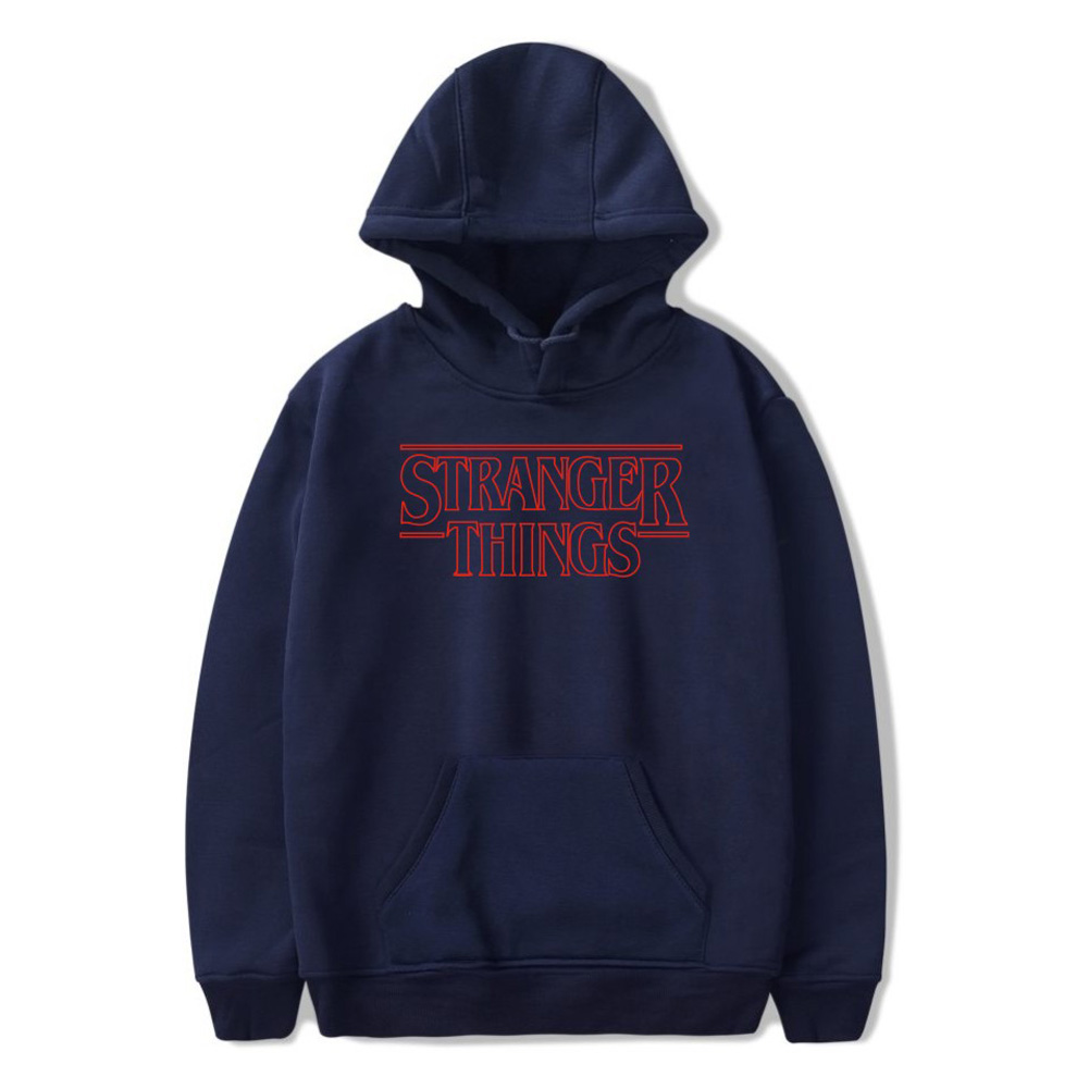 Men Fashion Stranger Things Printing Thickening Casual Pullover Hoodie Tops Dark blue--_L