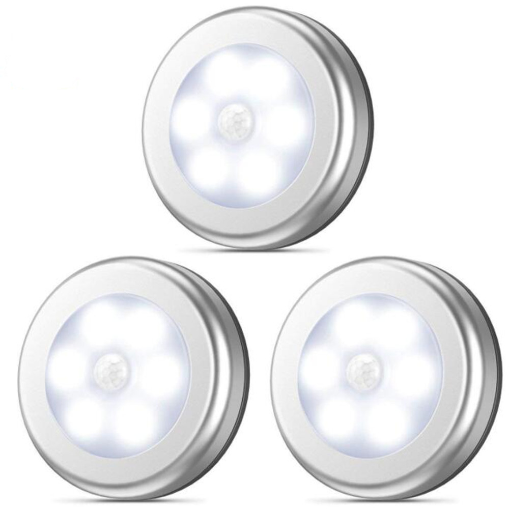 3Pcs 6LEDs Silver Color Round Shape Induction Round Shape Light for Cabinet Closet  White light_6LED