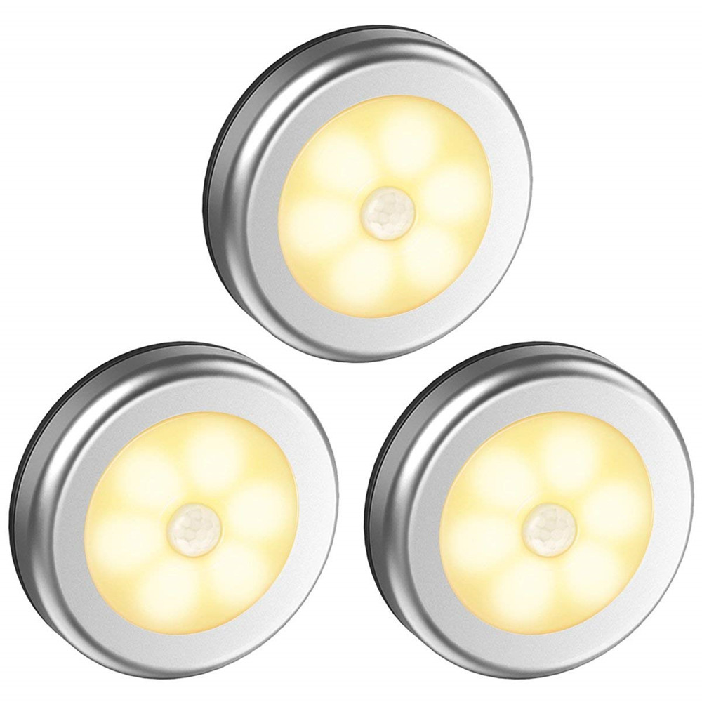 3Pcs 6LEDs Silver Color Round Shape Induction Round Shape Light for Cabinet Closet  Warm White_6LED