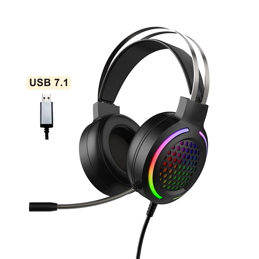 Hollow RGB Gaming Headset Wired Computer Headset Heavy Bass 7.1 Usb Headset With Microphone Black