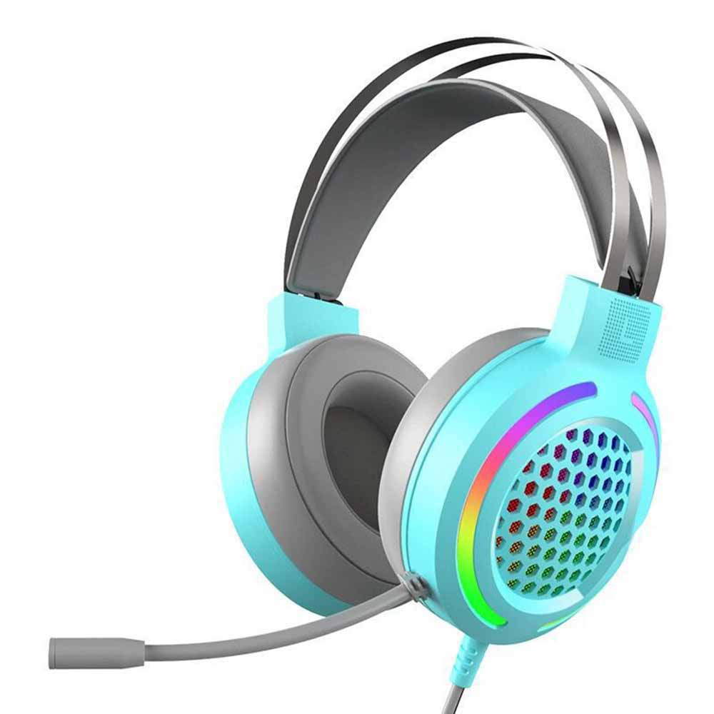 Hollow RGB Gaming Headset Wired Computer Headset Heavy Bass 7.1 Usb Headset With Microphone Blue