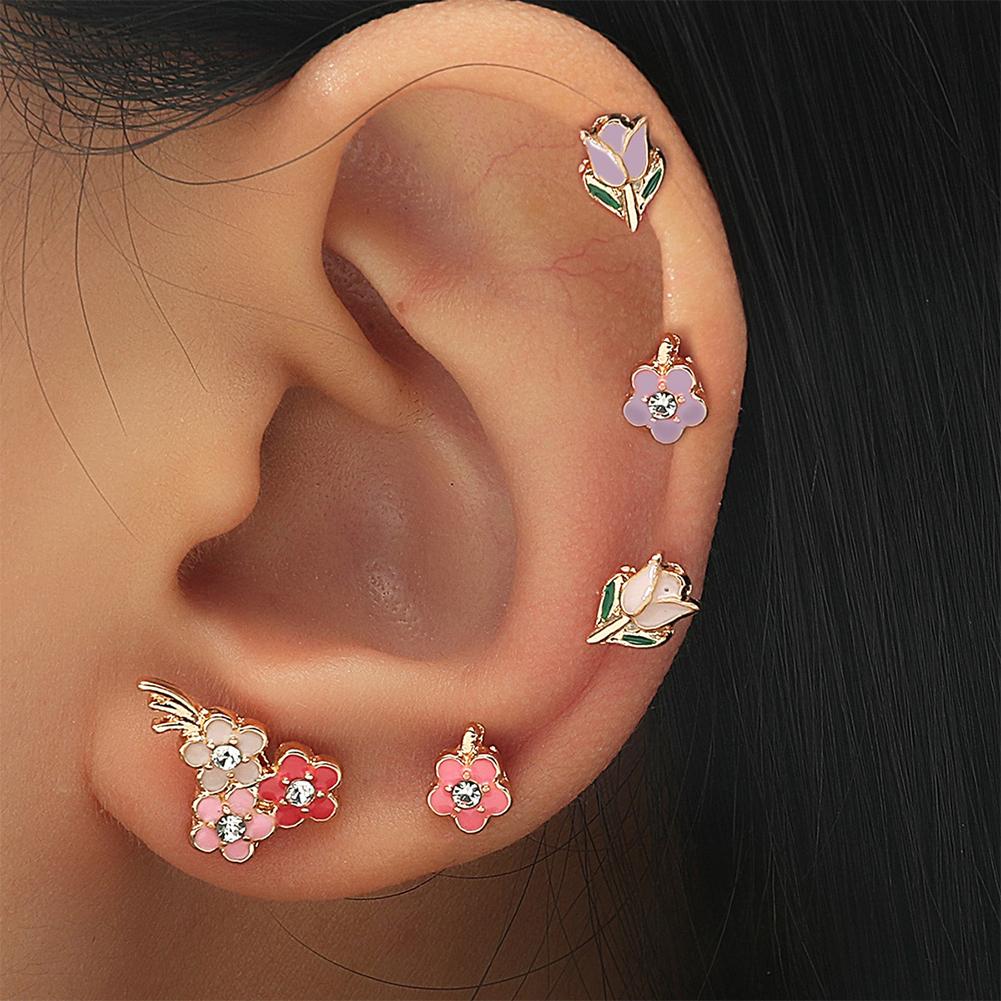 5 Pcs/set Alloy  Earrings Simple Metal Dripping Flower Shape Earrings Set Fashion Fun Ear Studs Color