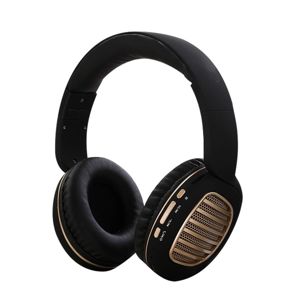 Wireless Bluetooth Foldable Headset FM Radio Stereo Music Portable Headset black gold