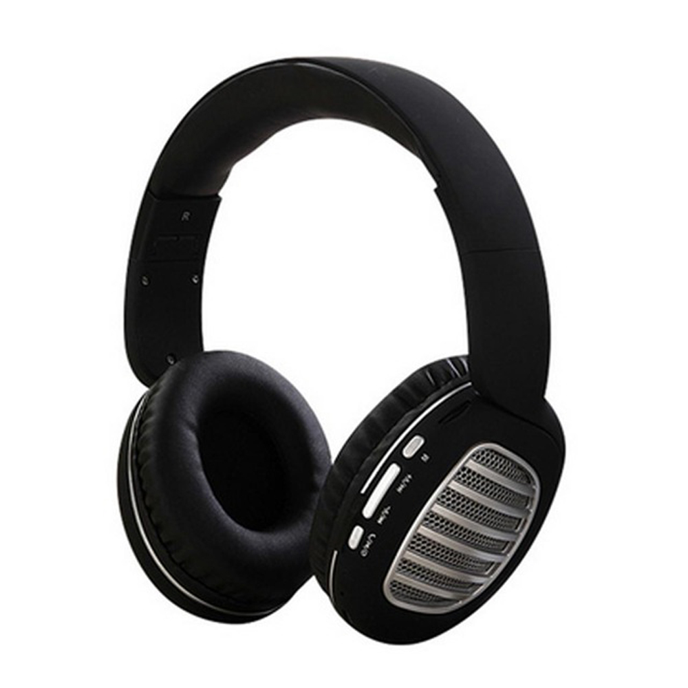 Wireless Bluetooth Foldable Headset FM Radio Stereo Music Portable Headset Black and silver