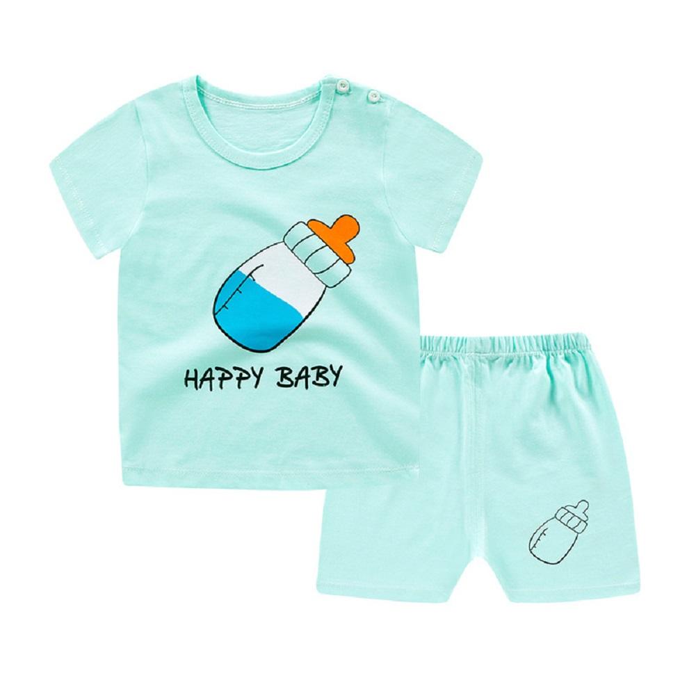 [Indonesia Direct] 2pcs/set Unisex Children Home Suit Short Sleeve Tops+ Shorts Home Wear Suit feeding-bottle_80