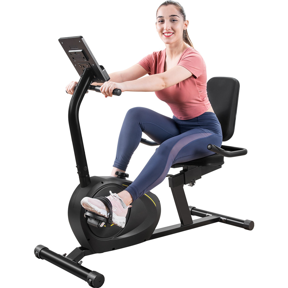 [US Direct] Recumbent Exercise  Bike With 8-level Resistance+bluetooth Monitor+adjustable Seat black